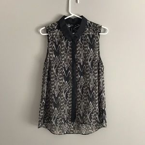 W118 by Walter Baker Med Sleeveless Top Olive Ikat